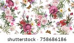 Stock photo seamless pattern with flowers and exotic leaves on white background floral pattern for wallpaper 758686186