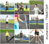 collage of people with jumping... | Shutterstock . vector #758687269