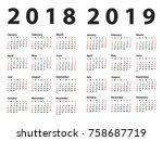 calendar 2018 starting from... | Shutterstock .eps vector #758687719