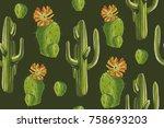 watercolor pattern. green...   Shutterstock . vector #758693203