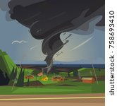 terrible tornado spun houses.... | Shutterstock .eps vector #758693410
