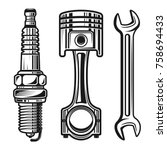 car or motorcycle repair parts... | Shutterstock .eps vector #758694433
