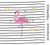 flamingo with hearts on striped ... | Shutterstock .eps vector #758694616