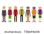 group older people. aged people ... | Shutterstock .eps vector #758694658
