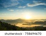 the morning mist at sukothai in ... | Shutterstock . vector #758694670
