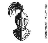 knight helmet vector monochrome ... | Shutterstock .eps vector #758694700