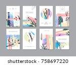 set of creative universal... | Shutterstock . vector #758697220