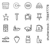thin line icon set   shop  cell ... | Shutterstock .eps vector #758697778