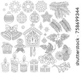 christmas decorations. coloring ... | Shutterstock .eps vector #758699344