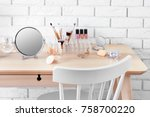 cosmetic set with mirror on... | Shutterstock . vector #758700220