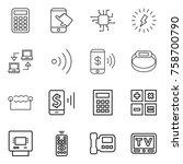 thin line icon set   calculator ... | Shutterstock .eps vector #758700790