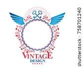 graphic ancient key emblem... | Shutterstock .eps vector #758701240