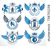 vector classy heraldic coat of...   Shutterstock .eps vector #758701258