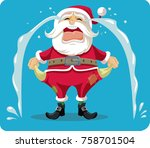 sad crying santa with empty... | Shutterstock .eps vector #758701504