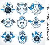 collection of vector heraldic... | Shutterstock .eps vector #758702488