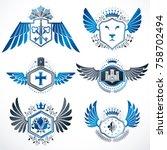 collection of vector heraldic... | Shutterstock .eps vector #758702494