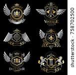 vintage decorative heraldic... | Shutterstock .eps vector #758702500