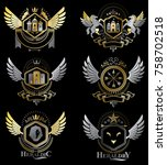 vintage decorative heraldic... | Shutterstock .eps vector #758702518