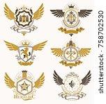 vintage heraldry design... | Shutterstock .eps vector #758702530