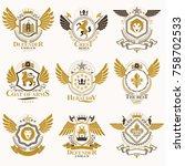 collection of vector heraldic... | Shutterstock .eps vector #758702533