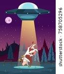 ufo kidnaps cow character.... | Shutterstock .eps vector #758705296