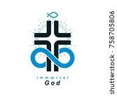 everlasting christian belief in ... | Shutterstock .eps vector #758705806