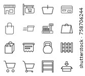 thin line icon set   shop ... | Shutterstock .eps vector #758706244