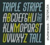 vector capital modern alphabet... | Shutterstock .eps vector #758709154