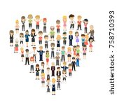 isolated heart from people's... | Shutterstock .eps vector #758710393