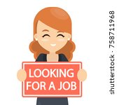 looking for a job. woman with... | Shutterstock .eps vector #758711968