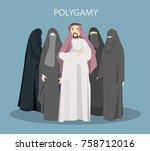 polygamy concept illustration.... | Shutterstock .eps vector #758712016