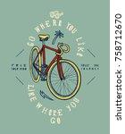fixie bike grunge print. go... | Shutterstock .eps vector #758712670