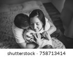 black and white film photo.... | Shutterstock . vector #758713414