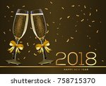 happy new 2018 year greeting... | Shutterstock .eps vector #758715370