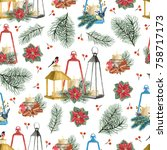 seamless pattern with christmas ... | Shutterstock . vector #758717173