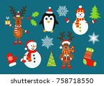 christmas  characters ...   Shutterstock .eps vector #758718550