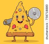 pizza slicer vector... | Shutterstock .eps vector #758718880
