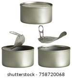 tin can  opened and closed... | Shutterstock . vector #758720068