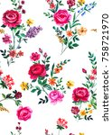 seamless graphical hand painted ... | Shutterstock . vector #758721970