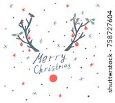christmas card with deer horns  ... | Shutterstock .eps vector #758727604