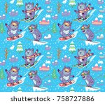 seamless pattern with fun yetis ... | Shutterstock .eps vector #758727886