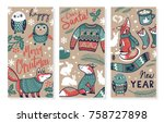 set of cute vector banners on... | Shutterstock .eps vector #758727898