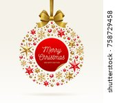 christmas greeting illustration.... | Shutterstock .eps vector #758729458