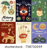 colorful alchemy doodle cards... | Shutterstock .eps vector #758732059