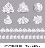 whipped cream realistic set in... | Shutterstock .eps vector #758732080