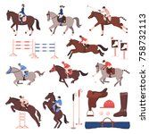 Stock vector equestrian sport set of flat icons with riders and polo players horses gear hurdles isolated 758732113