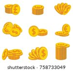 vector collection of gold coins ...   Shutterstock .eps vector #758733049