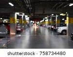 blurred photo of cars in the... | Shutterstock . vector #758734480