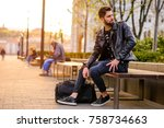 a handsome young hipster man... | Shutterstock . vector #758734663