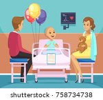 cancer kid patient composition... | Shutterstock .eps vector #758734738